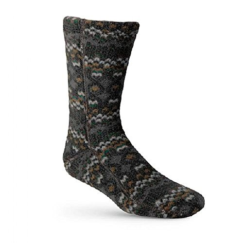 Acorn Slippers Fleece Versa Fit Socks - Charcoal Cable - Large