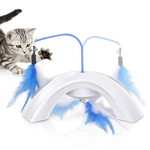 Jouet interactif pour chat avec longuette baguette à plume rotative