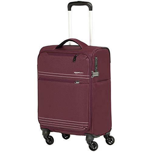 (AmazonBasics Lightweight Softside Carry-On Rolling Spinner Suitcase Luggage - 22 Inch, Red)