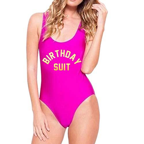 Yarsiman Birthday Suit One Piece Swimsuit 90s Bathing Suits Letter Print Backless one Piece Monokini Bikini