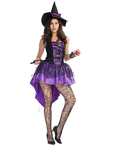 Corgy Women's Witch Plus Size Costume Purple Swallowtail Witch Halloween Costumes With Hat L (Bewitched Costume)