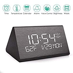AZbornaz Wood Alarm Clock Block, Wooden LED Digital Electronic Bedside Shelf Desk Display - Wireless Battery Power, USB Charger, Dimmable, Calendar Date, Temperature, Voice Control - Modern Black