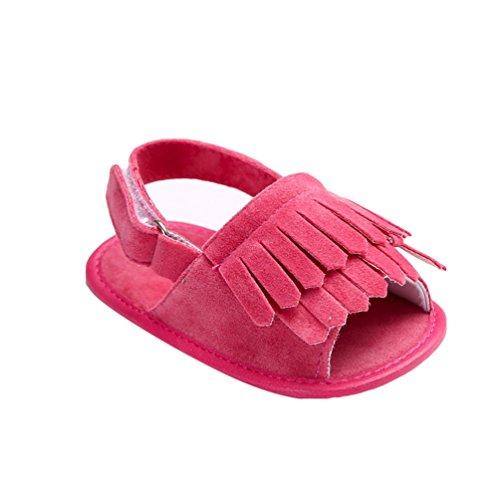 CHENGYANG Kinder Schuhe Baby Mädchen Sommer Quasten Sandalen Kleinkind Lauflernschuhe Rose