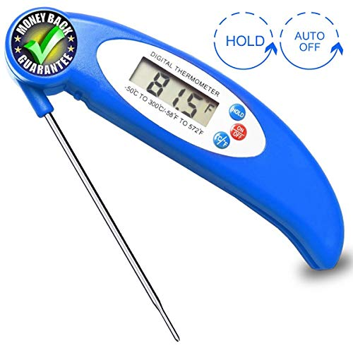 Waterproof Digital Meat Thermometer for Grilling BBQ Candy Oven Cooking, Food Thermometer Instant Read Thermometer with Calibration and Large LCD Display (Blue)