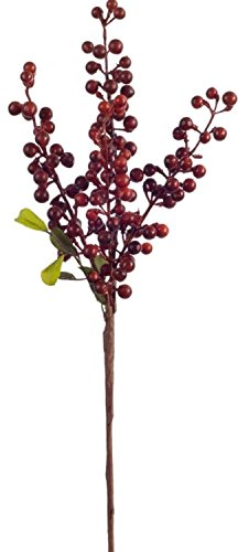 Club Pack of 24 Seasonal Decorative Indoor Velvet Red Berry Pick 18.5''H by Melrose