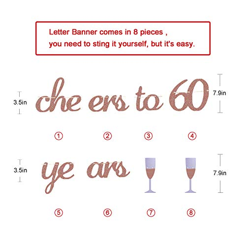 Glittery Rose Gold Cheers To 60 Years Banner For 60th Birthday Wedding Anniversary Party Decorations Supplies