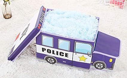 motivo a cubi e coperchio 55 x 26 x 31cm Amazinggirl Police Car Sgabello pieghevole con vano portaoggetti
