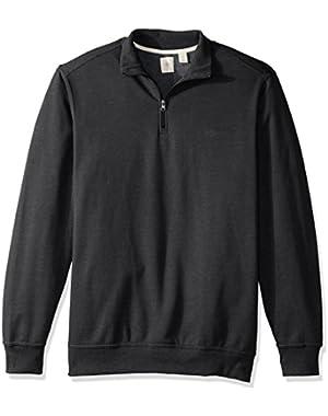 Men's Big and Tall Solid Long Sleeve 1/4 Fleece Zip Mock