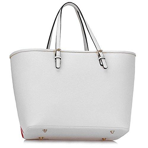 ANNA GRACE - Bolso al hombro de piel sintética para mujer Design 3 - White