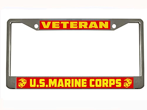 (U.S. Marine Corps Marines Veteran Military License Plate Frame Holder Chrome )