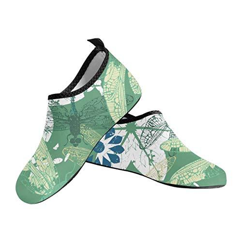 INTERESTPRINT Men's Aqua Water Shoes Dragonfly Flowers Barefoot Shoes Quick Dry Beach Socks US14-US14.5