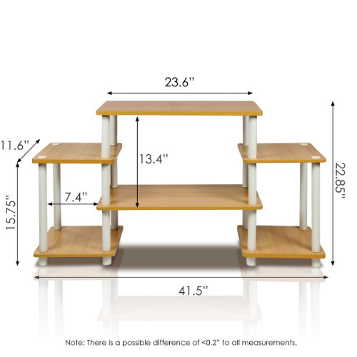 Furinno 11257BE WH Turn-N-Tube No Tools Entertainment TV Stands, Beech White