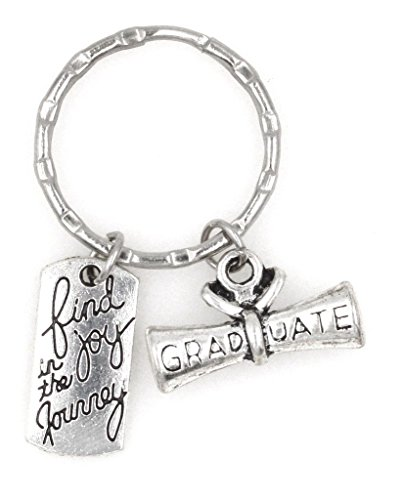 Find Joy in The Journey Graduate Scroll Diploma Keychain Inspirational Gift Joy/Scroll (KC 106H)