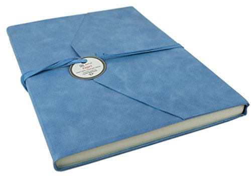 Capri Extra Large Aeroblue Handmade Italian Leather Wrap Journal, Plain Pages (30cm x 24cm x 2cm)