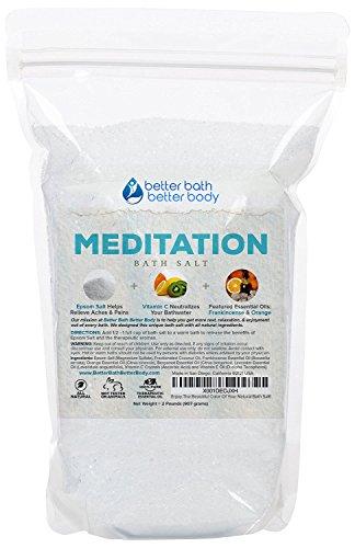 Meditation Bath Salt 32 Ounces Epsom Salt with Bergamot, Lavender, Frankincense and Orange Essential Oils Plus Vitamin C and All Natural Ingredients