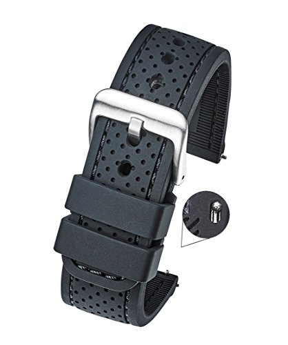 rproof Silicone Watch Band Strap with Quick Release – Soft Rubber Black Watch Band 22mm ()