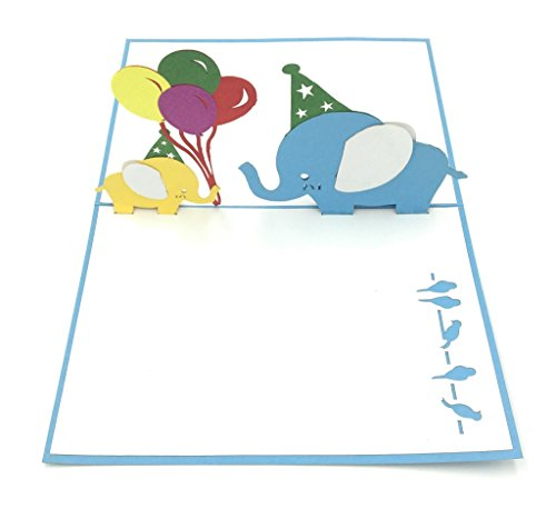 D Pop Up Greeting Card | Baby Elephant with Balloons | Blue Cover - 4.7 x 6.7 inches ()