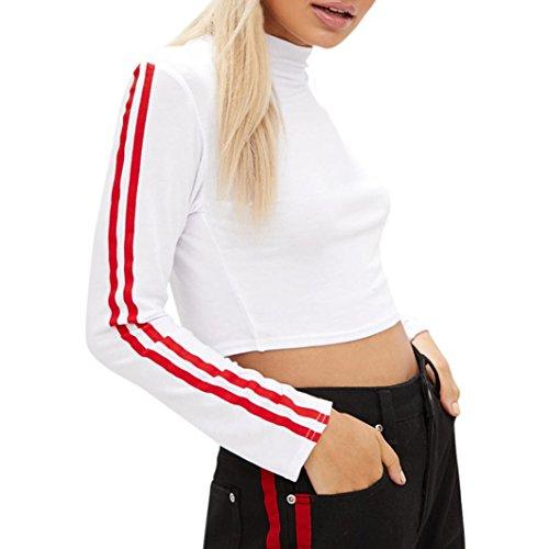 Women Short Blouse Tops MITIY Sheathy Stripe Long Sleeve Turtleneck