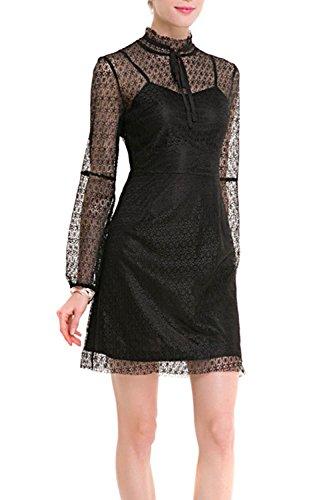 Damen Spitzen Durchsichtige Bluse Mini Stift Partei Büro Kleid Black ...