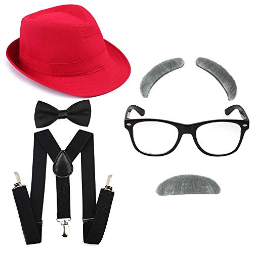 Kakaxi 1920's Boys Fedora Gangster Hat,Suspenders w/Pre-Tied Bow Tie, Old Man Eyebrows,Moustache,Nerd Fake Glasses (OneSize, Red Hat & Black Suspenders)