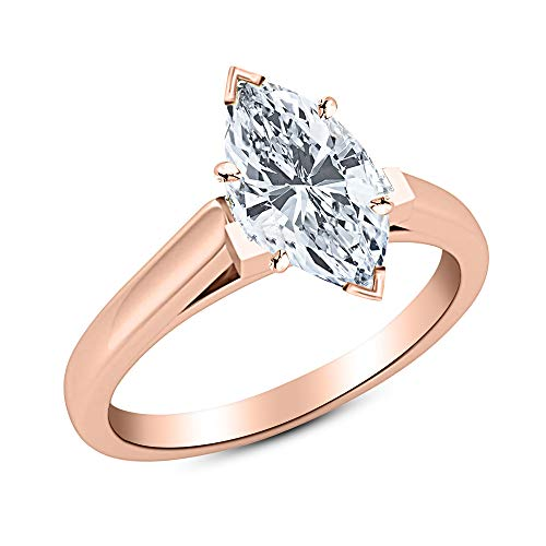 0.67 Carat 14K Rose Gold Marquise Cut Cathedral Solitaire Diamond Engagement Ring D-E Color VVS2 Clarity