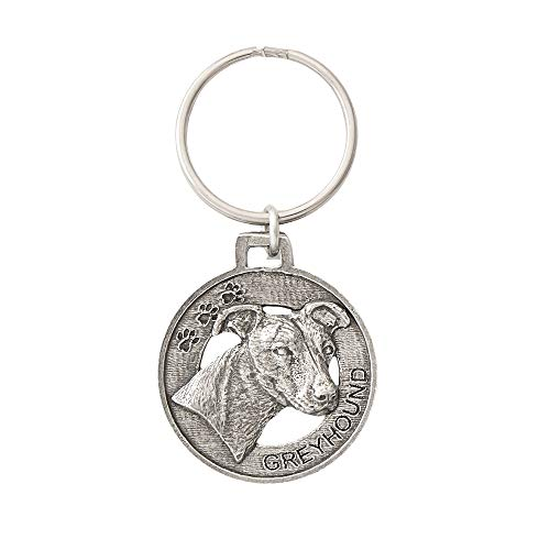 Greyhound Dog Pewter Key Chain, Key Fob, Key Ring, Gift, D096KC