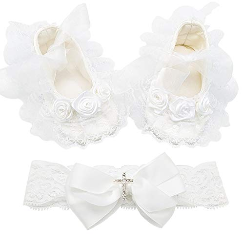 Glamulice Baby Girl Infant Satin Mary Jane Baptism Lace Shoes Dance Ballerina Headband Set (3M/0-6M, Shoes & Headband) from Glamulice