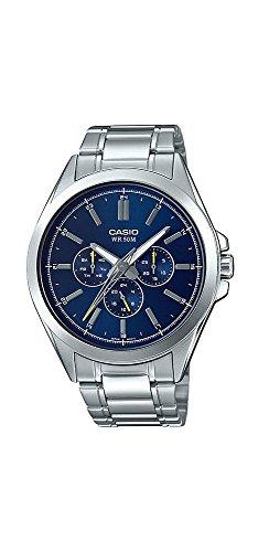 (Casio MTP-SW300D-2AV Men's Precisionist Stainless Steel Sweep Second Hand Multifunction Watch)