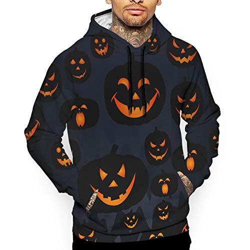 Happy Halloween Funny Pumpkins Mens Casual Pullover Hoodie Long Sleeve Pullover Cool Lightweight Sweatshirts -