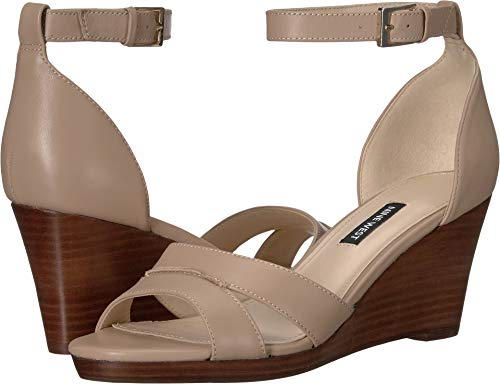 Nine West Women's Jabrina Wedge Sandal Barely Nude 8 M US (Woman Nine 8 Wedge West Shoes)