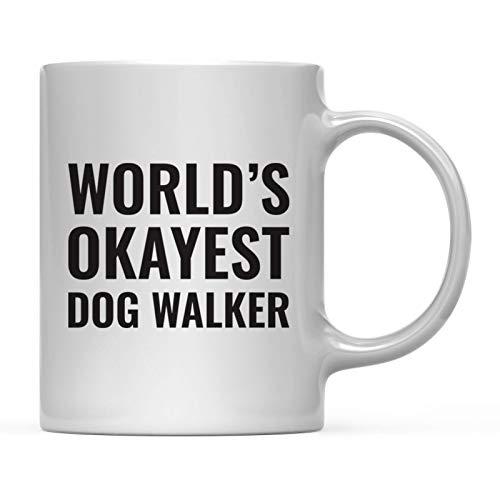 Andaz Press 11oz. Coffee Mug Gag Gift, World's Okayest Dog Walker, 1-Pack, Funny Witty Coffee Cup Birthday Christmas Present Ideas