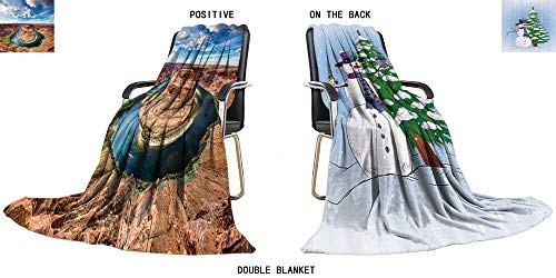"SOCOMIMI Soft Warm Cozy Throw Duplex Printed Blanket Horse Shoe Bend Travelling and Camping 47"" W x 31.5"" H"