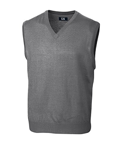 (Cutter & Buck MCS01432 Mens Douglas V-Neck Vest, Mid Grey Heather)