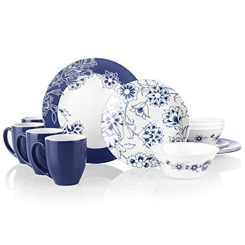 Corelle Boutique Indigo Blooms 16-Piece Chip Resistant Dinnerware Set, Service for 4