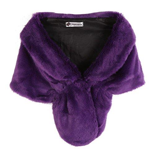 Women's Warm Faux Fur Wedding Shawl Wrap Stole for Party Show Bridal Fur Stole (Faux rabbit fur Purple) ()