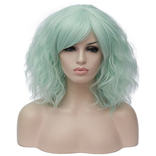 Alacos Fashion 35cm Short Curly Bob Anime Cosplay Wig Daily Party Christmas Halloween Synthetic Heat Resistant Wig for Women +Free Wig Cap (Neon Green Side Parting)