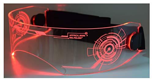 Photo Fursuit Costume LED Visor Glasses Cyberpunk Tron CyberGoth Goggles Cosplay Furries Furry (Red)