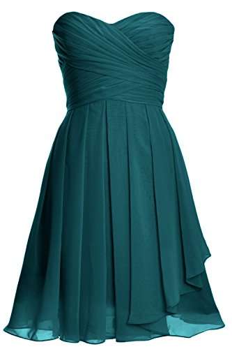 MACloth Women Strapless Lace up Short Bridesmaid Dress Cocktail Party Gown Teal