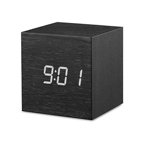 Digital Alarm Clock, OYES LED Wood Cube Desk Clock, Square Mini Alarm Clock, Displays Time, Date, Temperature for Bedroom, Office, Dormitory, Travel - White