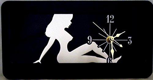 "1 , Wall Quartz Clock on a , ""MUD FLAP GIRL"", Metal Sign, Surrounded by a Polyethylene Black Frame,21A3.0&17B6.2"