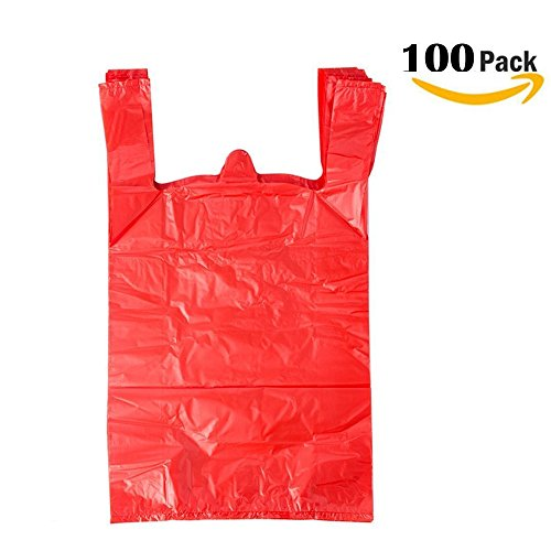 Single Buggy Bag - LazyMe 12 x 20 inch Plastic Sturdy T Shirt Bags, For Christmas Handle Merchadise Bags, Multi-Use Mudium Size, Red Plain Grocery Bags, Durable, 12 x 20inch, 100 pcs Not See throgh (100,RED
