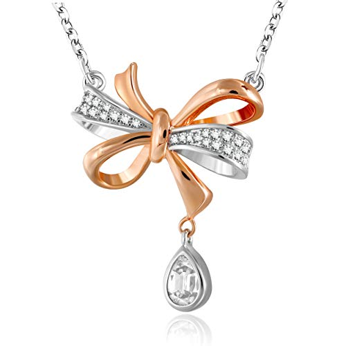 GEORGE · SMITH Love Knot Rose Gold Pendant Necklace for Women, Birthday Gift Necklace Jewelry Gifts with 18+2 Inches Extender Chain