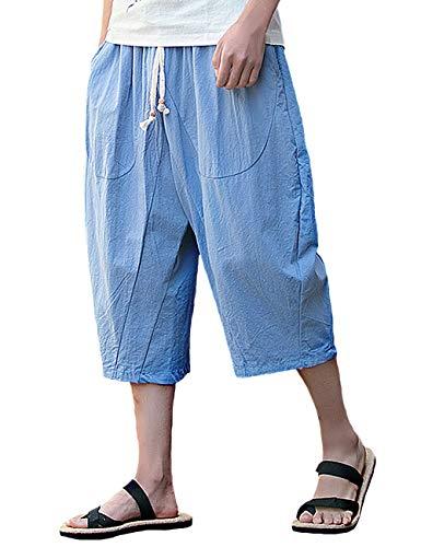 Rexcyril Men's Casual Pants, Drawstring Loose Baggy Linen Capri Harem Pants Crop Yoga Shorts Pockets Bue Light Blue