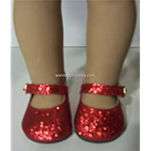 RUBY RED Sparkle Glitter Shoes for American Girl, or 18 Inch Dolls, or Bitty Baby from THE WISHLIST STORE ONLY