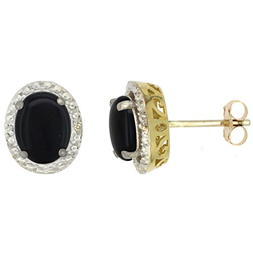 10K Yellow Gold 0.01 cttw Diamond Natural Black Onyx Post Earrings Oval 7x5 (Yellow Gold Oval Onyx)
