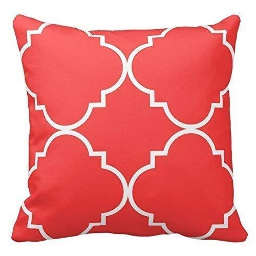 LILKCO Funda de cojín,Coral Red and White Decor Back Cushion ...