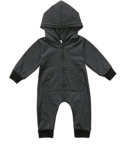 HappyMA Baby Boy Cute Long Sleeve Hoodie Romper Jumpsuit With Zipper Pocket Playsuit Outfit Clothes (3-6 Months) (For Cute Baby Shirts Boys)