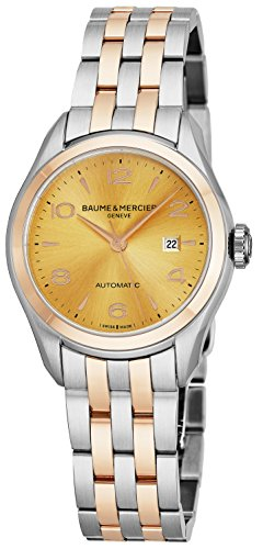 Baume & Mercier Clifton Womens Two Tone Automatic Watch - 30mm Analog Yellow Gold Face Swiss Luxury Dress Watch For Women 10351