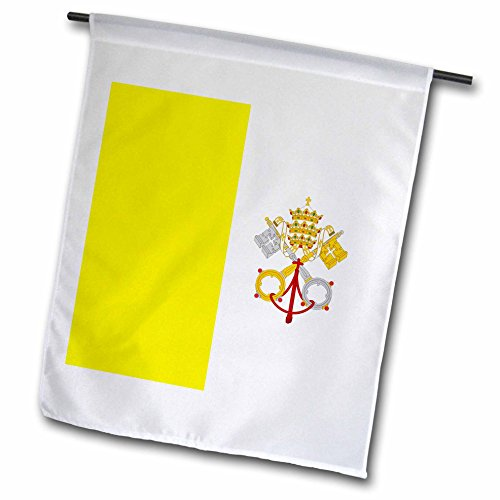 3dRose InspirationzStore Flags - Flag of Vatican City - gold yellow and white with crossed keys of Saint Peter and Papal Tiara crown - 18 x 27 inch Garden Flag (fl_159812_2)