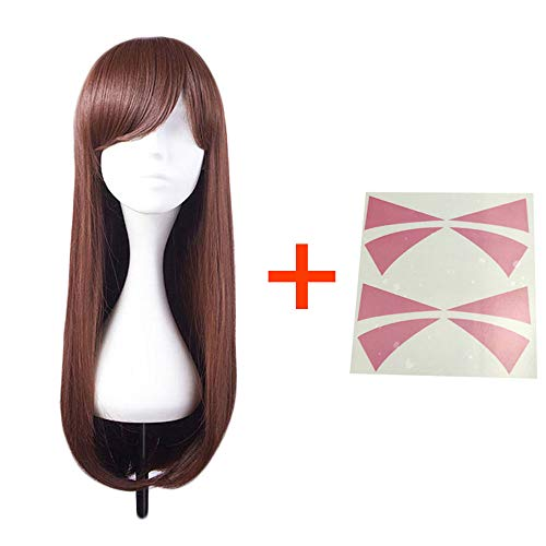 good Goods store Cosplay Wig for Girls Halloween for Women Party Long Wavy Synthetic Hair Dark Brown 30cm with Tattoo (Best Cosplay Wig Stores)